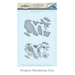 (SDS-043)Spellbinders Sparrow Stamp & Die Template Set