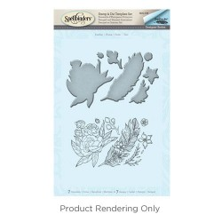 (SDS-038)Spellbinders Feather Stamp & Die Template Set