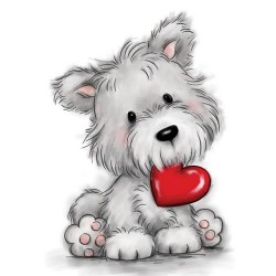(CL503)Wild Rose Studio`s A7 stamp set Dog with heart