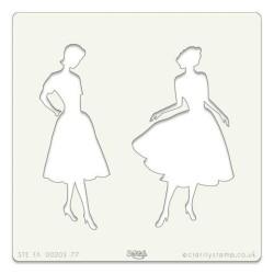 (STE-FA-00203-77)Claritystamp Art Stencil 7x7 Inch Elegant Ladie