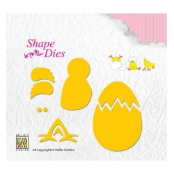 (SD128)Nellie's Shape Dies Build-up chicken & egg