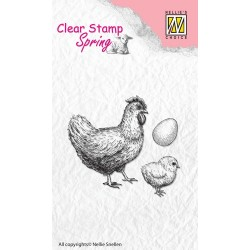 (SPCS004)Nellie's Choice Clear stamps Spring Hen with checken & egg