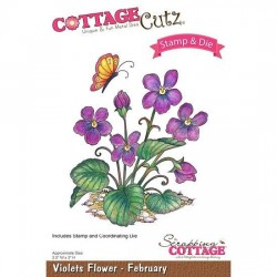 CCS-012)Scrapping Cottage Violets Flower - February +stamp clear