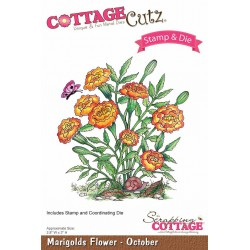 (CCS-009)Scrapping Cottage Marigolds Flower - October  +stamp clear