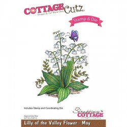(CCS-008)Scrapping Cottage Lilly of the Valley Flower - May +stamp clear