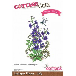 (CCS-007)Scrapping Cottage Larkspur Flower - July +stamp clear