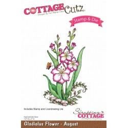 (CCS-006)Scrapping Cottage Gladiolus Flower - August +stamp clear