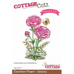 (CCS-002)Scrapping Cottage Carnation Flower - January +stamp clear