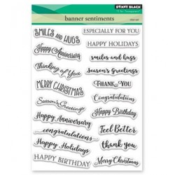 (30-423)Penny Black Stamp clear Banner Sentiments