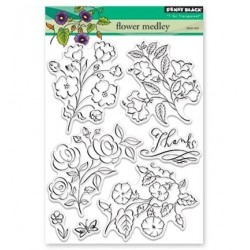 (30-421)Penny Black Stamp clear Flower Medley