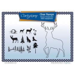 (STA-AN-10511-A5)Claritystamp Stag Outline Clear Stamps with Mask