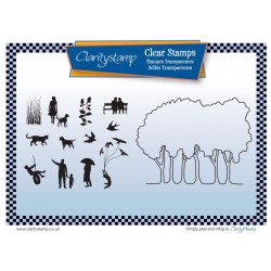 (STA-AN-10508-A5)Claritystamp Grove Trees Outline Clear Stamps with Mask