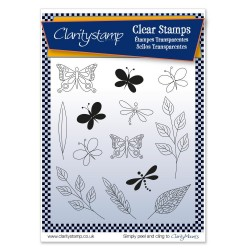 (STA-AN-10514-A5)Claritystamp Tina's Butterflies & Dragonflies Clear Stamps