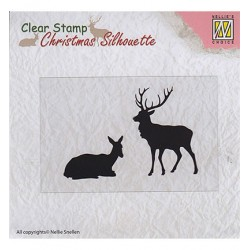(CSIL001)Nellie's Choice Clear stamps Christmas Silhouette Reindeer