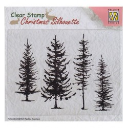(CSIL004)Nellie's Choice Clear stamps Christmas Silhouette Pine trees
