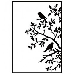 (HSF017)Embossing Folder Birds on branch