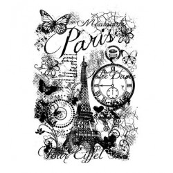 (FRS638)Woodware Clear Stamp Set Paris Collage