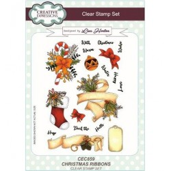 (CEC859)Clear Stamps set Christmas Ribbons