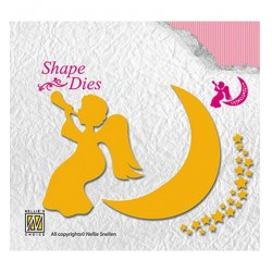 (SD135)Nellie's Shape Dies Angel with Moon & stars