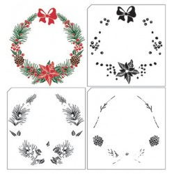 (LCS005)Nellie's Choice clear stamp Layered Christmas Wreath-1