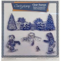 (STA-WI-10490-A4)Claritystamp Jayne Nestorenko Winter Scene Children Clear Stamps