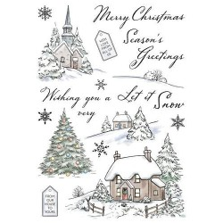 (AS006)Wild Rose Studio`s A5 stamp set Winter Cottages