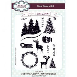 (CEC863)Clear Stamps Festive Flurry Winter Scene