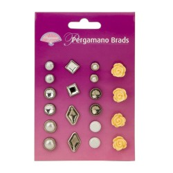 (PER-AC-70277-XX)PERGAMANO BRADS MIXED SET 2 YELLOW ROSE