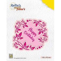 (MFD112)Nellie's Multi Frame Dies Flower wreath Happy Birthday