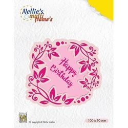 (MFD112)Nellie's Multi Frame Dies Flower wreath Happy Birthday