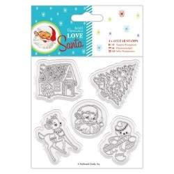 "(PMA907968)4 x 4"" Clear Stamps - Love Santa - Mixed Icons"