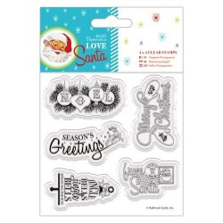 "(PMA907967)4 x 4"" Clear Stamps - Love Santa - Mixed Sentiments"