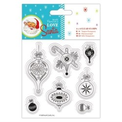 "(PMA907966)4 x 4"" Clear Stamps - Love Santa - Baubles"