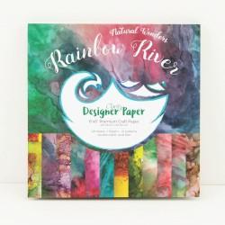 """(ACC-CA-30539-88)GROOVI DESIGNER CRAFT PAPER 8"""" X 8"""" RAINBOW RIVER"""