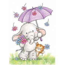 (CL514)Wild Rose Studio`s A7 stamp set Bella with Umbrella