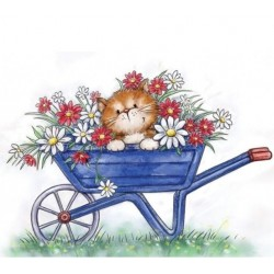(CL516)Wild Rose Studio`s A7 stamp set Cat in Wheelbarrow