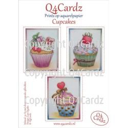 PrettyCardz Cupcakes A5 aquarel papier