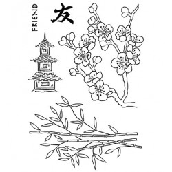 (JGS562)Woodware Clear Stamp Jane Gill Bamboo & Blossom