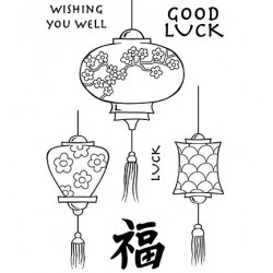 (JGS563)Woodware Clear Stamp Jane Gill Japanese Lanterns