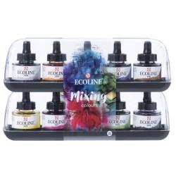 (11259902)Talens Ecoline Liquid Watercolour Set Mixing 10x30ml