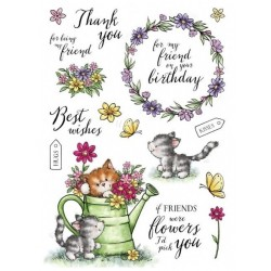 (AS008)Wild Rose Studio`s A5 stamp set Cats in the Garden