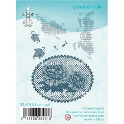 (55.4018)Clear stamp Lace oval Roses