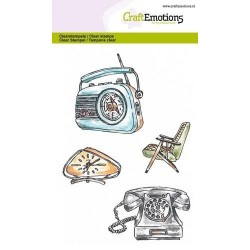 (1282)CraftEmotions clearstamps A6 - Vintage radio, clock