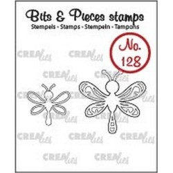 (CLBP128)Crealies Clearstamp Bits&Pieces no. 128 2x dragonfly