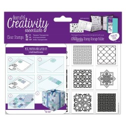 (DCE907141)Docrafts A6 Clear Stamp Set (12pcs) - Moroccan Tiles