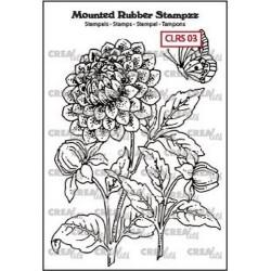 (CLRS03)Crealies Mounted Rubber Stampzz no. 3 Dahlia