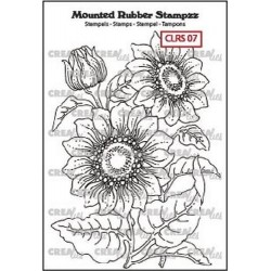 (CLRS07)Crealies Mounted Rubber Stampzz no. 7 Sunflower