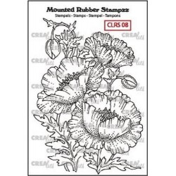 (CLRS08)Crealies Mounted Rubber Stampzz no. 8 Poppies