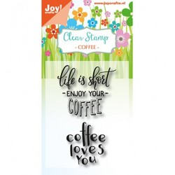 (6410/0476)Clear stamp Coffee txt - Enjoy