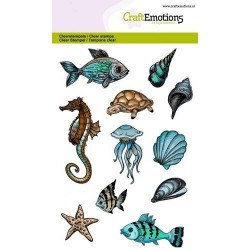 (1288)CraftEmotions clearstamps A6 - sea animals